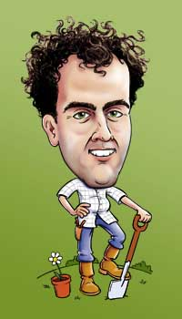 Illustration: cartoon picture of Simon Bunting holding a spade